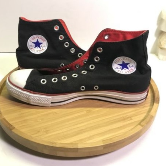 b5012186e1aad9 Converse Chuck Taylor Hi BLACK RED Canvas Sz 9 Men.  M 5ae1612a3b1608eebb190f70